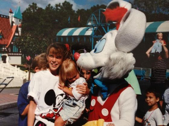 roger rabbit at disney world, with my family, cousins, flashback