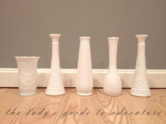 i am in love with the look and feel of milk glass.. they will look beautiful placed on tables and we spent no dollars! it's a win-win!