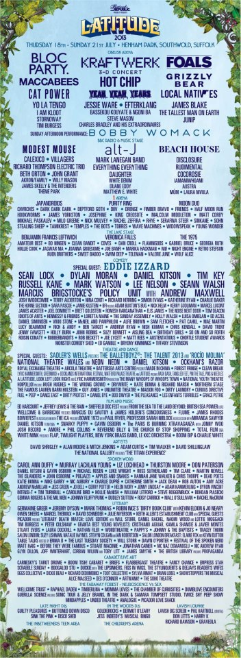 latitude music festival lineup, modest mouse, beach house, james blake