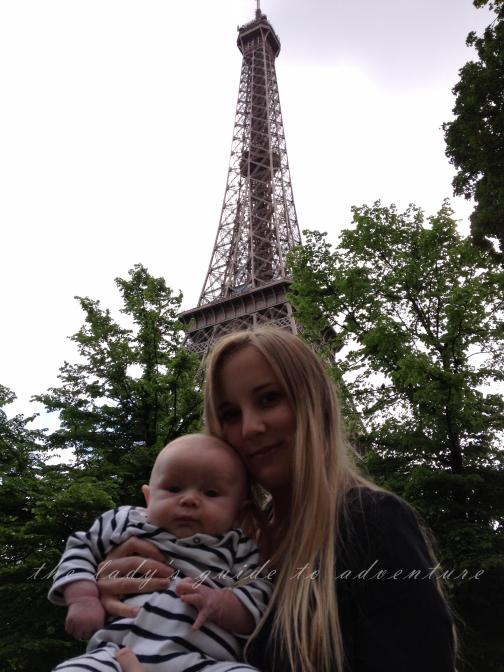 girl and baby in paris, by the eiffel tower, france, travels