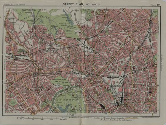 old map of hampstead, london, old maps