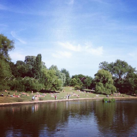sunbathing, hampstead heath, london, sunny weather, beautiful sunshine, laying out