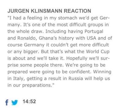 jurgen klinsmann reaction, fifa, 2014 world cup draw, soccer, football, world cup, sports