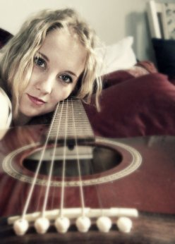 blonde girl and her guitar, pretty mahogany seagull guitar, red seagull, acoustic guitar, reds and whites, my pretty guitar