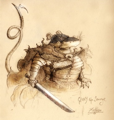 cluny the scourge, redwall character, evil rat, villain, cluny, brian jacques, treacherous villain, big rat, dangerous, beautiful illustration
