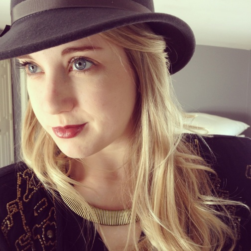 goorin brothers, free hat friday, contest winner, blonde hair blue eyes, girl wearing a hat, grey goorin brothers hat, laura wilder hat, deep red lipstick, blue eyes, gold necklace, anthropologie, fashion, goorin, the lades guide to adventure, rosalie melin