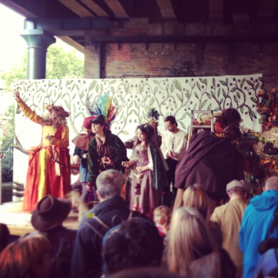 the lions part, apple day 2013, borough market, october plenty festival 2013, throwing vegetables, merriment, the berry man, apples apples, apple tasting, theatre group, theatre in london, apple day in london