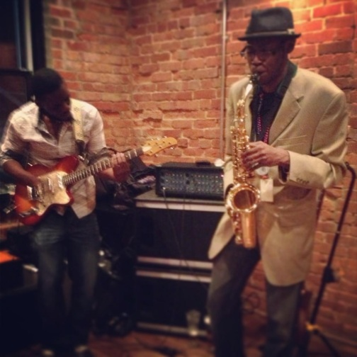 musicians, jazz music, tin man brewery, saxophonist, monty wearing a hat, live music in evansville