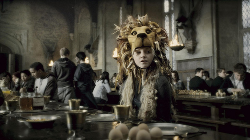 luna love good wearing her lion hat, luna the lion, harry potter, such a quirky character, lover of all things fantasy, nargles, lion outfit, lion costume