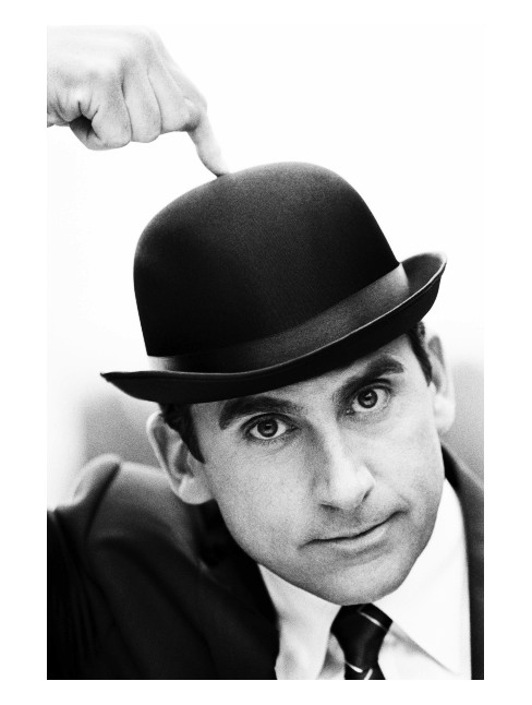 steve carell wearing a hat, black and white, celebrity photograph, the office
