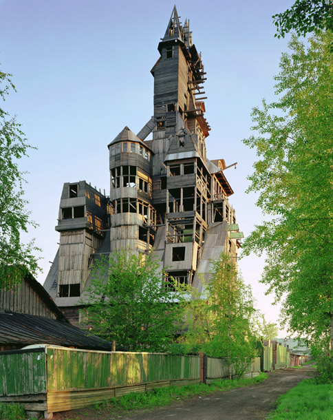 thirteen story wood house, epic wood house, giant cabin, wood structure