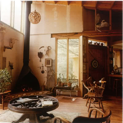 woodstock handmade house, simple living, beautiful light in a wood home, cozy seating area
