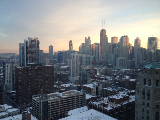 the windy city, chicago, chi town, illinois, traveling around the midwest, long distance relationship, first time in the united states, beautiful view, downtown chicago, sunrise over chicago, lovely sunrise, view from our hotel