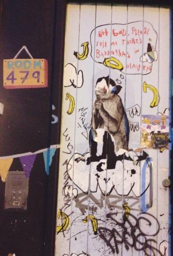 london, brick lane, graffiti in london, monkeys and bananas, heaven, praying to god, monkeys love bananas, city life, american living in london, the ladys guide to adventure, rosalie melin, monkey love, room 479, art, paintings, god