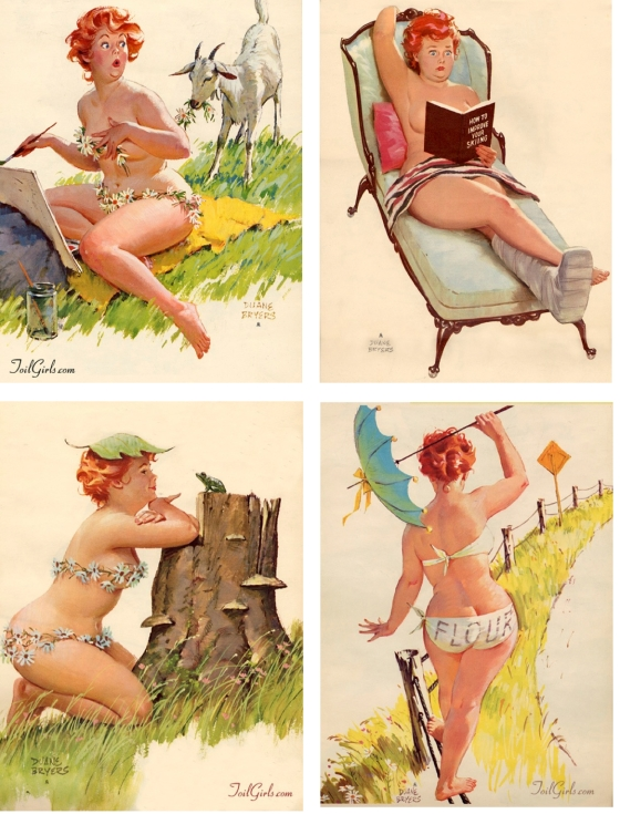 hilda, pin-up girl, toil girls, 1950's illustration, flowers everywhere, redheaded girl, adorable, how to ski, flower eating goat, pin ups, duane bryers, lost pin-up girl, plump lady,