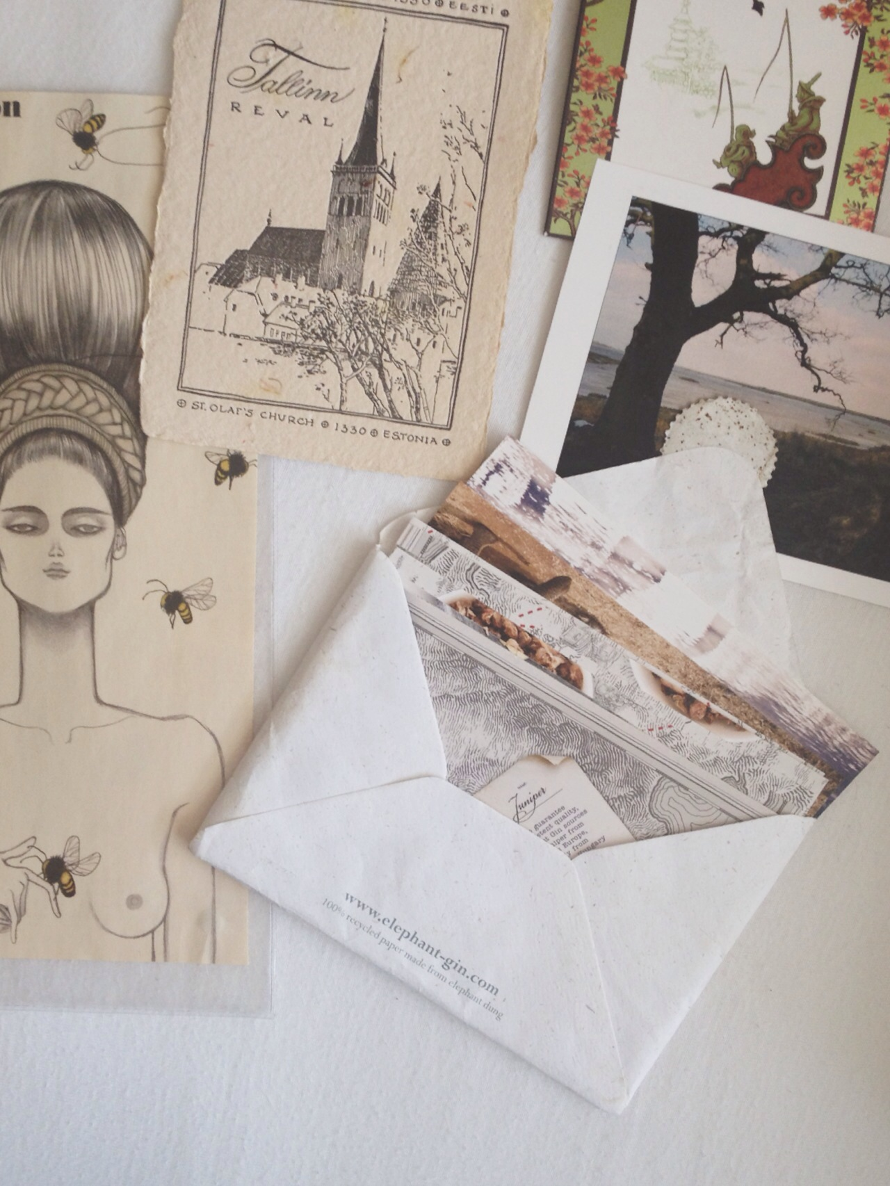 art collection, magazine cutouts, post cards, drawings, organic gathering, beautiful images, nudity, a woman and bees, bumble bees, oriental print, loveliness