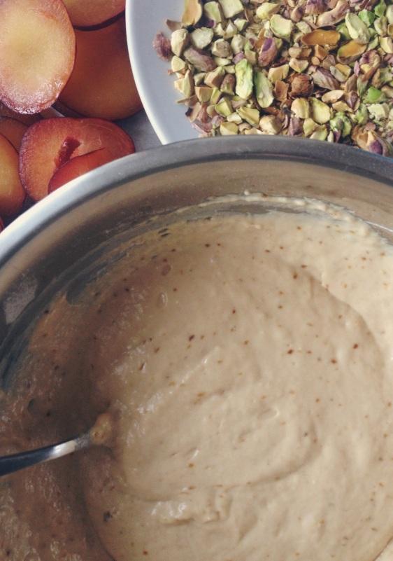 plum and pistachio pancakes, making pancakes, pancake recipe, american pancakes, always use buttermilk, pistachio pieces, plum and pistachio, fun pancake recipe, happy pancake day