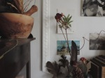 dried flowers, moving to a new place, bermondsey, postcards, mortar and pestle, art, saying goodbye, changes, feathers, flora, old books, fireplace mantel, london, home in london, making a new home